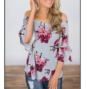 Tops - Floral Off Shoulder Ruffle Shirt